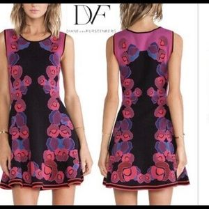 DVF Rose print knit fit and flare dress